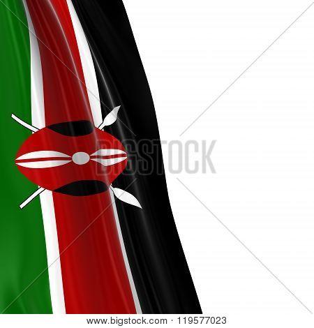 Hanging Flag Of Kenya - 3D Render Of The Kenyan Flag Draped Over White Background
