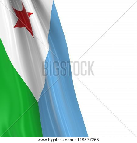 Hanging Flag Of The Djibouti - 3D Render Of The Djiboutian Flag Draped Over White Background