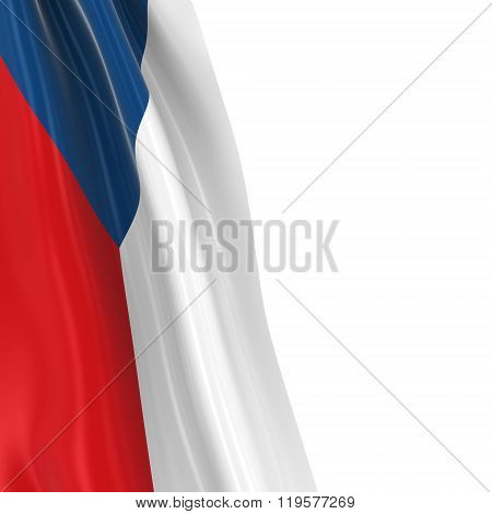 Hanging Flag Of Czech Republic - 3D Render Of The Czech Flag Draped Over White Background