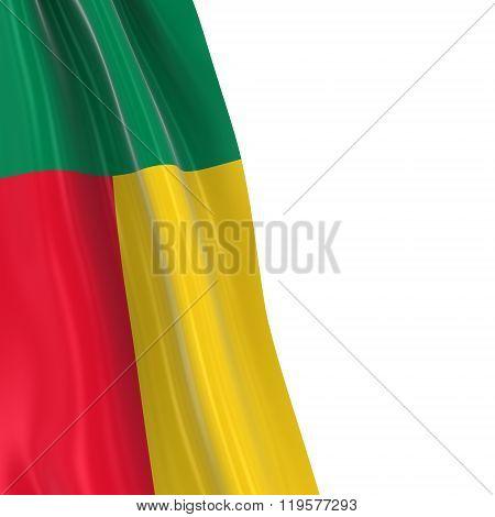 Hanging Flag Of Benin - 3D Render Of The Beninese Flag Draped Over White Background