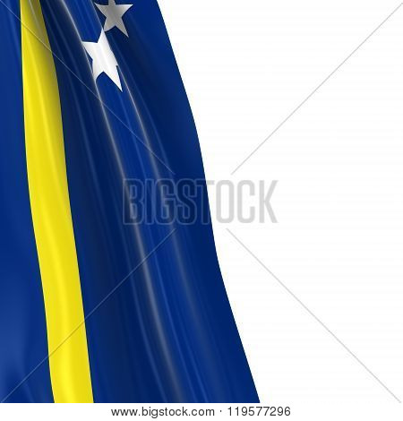 Hanging Flag Of Curacao - 3D Render Of The Curacaoan Flag Draped Over White Background