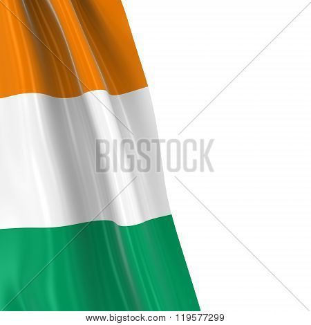 Hanging Flag Of Cote D'ivoire - 3D Render Of The Ivorian Flag Draped Over White Background