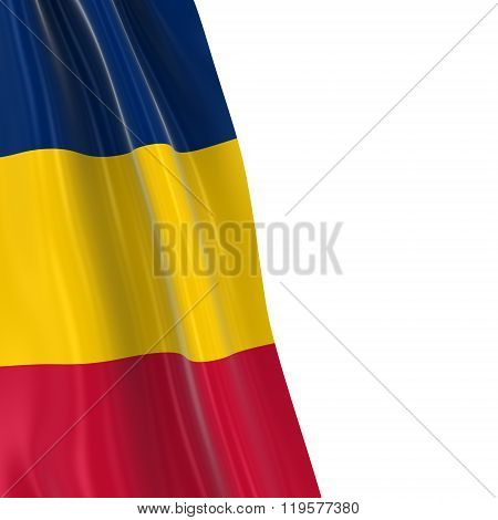 Hanging Flag Of Chad - 3D Render Of The Chadian Flag Draped Over White Background