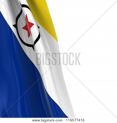 Hanging Flag Of Bonaire - 3D Render Of The Bonaire Flag Draped Over White Background