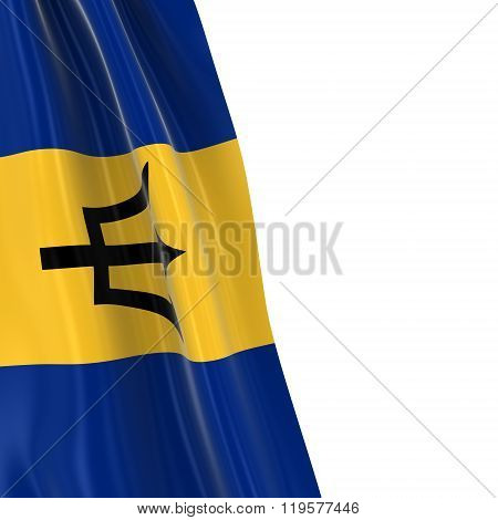 Hanging Flag Of Barbados - 3D Render Of The Barbadian Flag Draped Over White Background