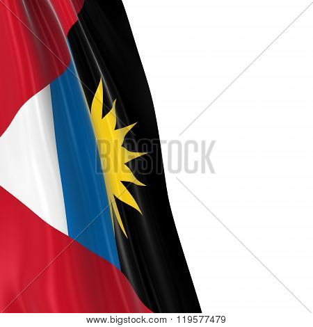 Hanging Flag Of Antigua And Barbuda - 3D Render Of The Antiguan And Barbudan Flag Draped Over White