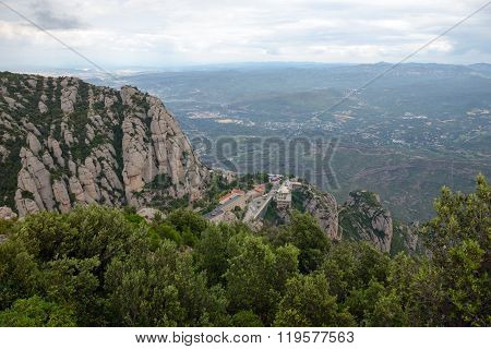 View Towards Montserrat Abbey And Valley Bellow It, Barcelona, Spain.