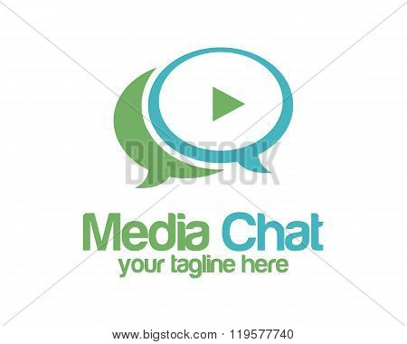 Media Chat Logo Design Vector Template. Speech Bubble Symbol Vector . Media Play Logo Design Vector.