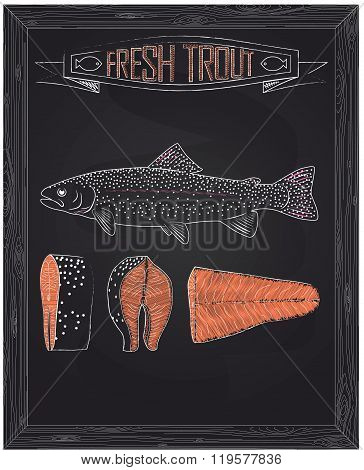 Fresh Whole One Young Trout , Fillets And Steaks