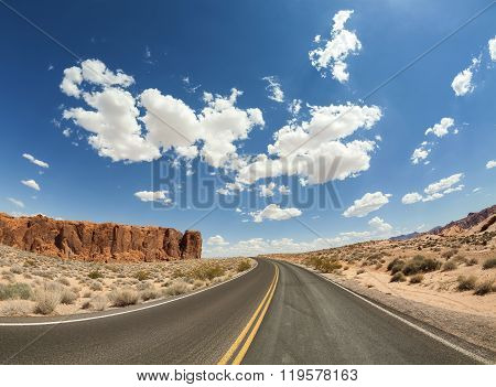 Fisheye Lens Picture Of Desert Road, Usa