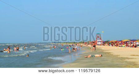 Russia, Achuevo - August 2, 2015: The beach at the recreation center in the village Achuevo in the Krasnodar region.