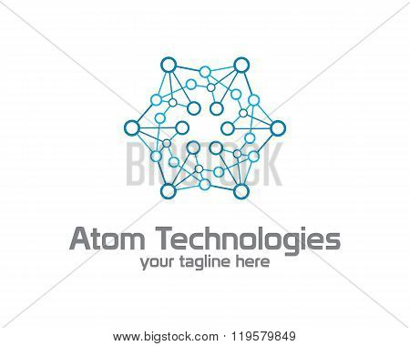 Business Corporate Atom Nuclear Technology  Logo Design Template. Simple And Clean Flat Design.