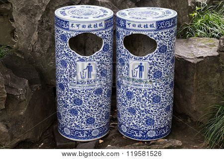 Porcelain Trash Can In Classical Garden In Suzhou,  China