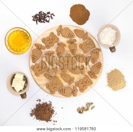 Ginger Snaps With Ingredients On White Background