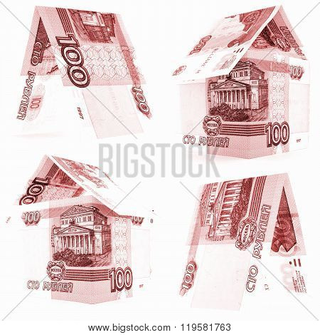 Red 100 Russian Ruble Set, Rouble House Isolated, White Background