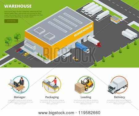 Page web design template Set of flat vector web banners on the theme of Logistics, Warehouse, Freigh