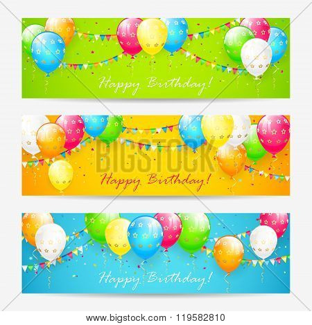 Colorful Birthday Cards With Balloons And Confetti