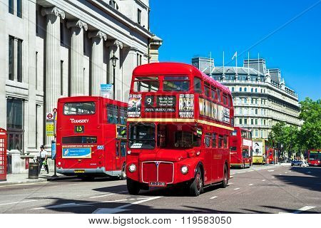 Classic Red Routemaster - Double Decker Buses, London, Uk