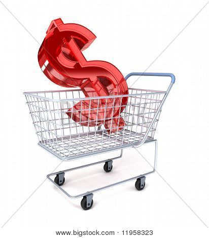 Shopping cart with the dollar symbol