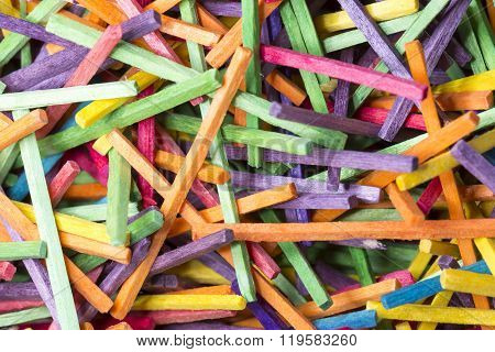 Colourful Matchsticks Close Up with out heads