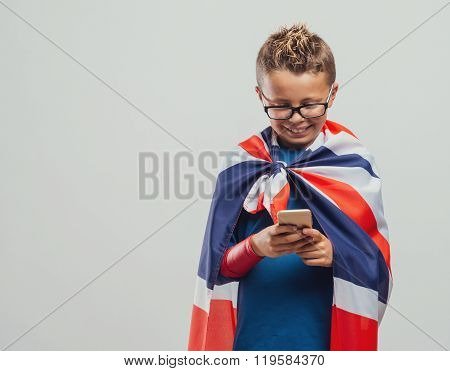 Funny British Superhero Using A Smart Phone