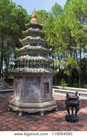 Small Tower Near Thien Mu Pagoda In Hue,  Vietnam