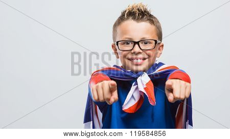 Funny Superhero Pointing At Camera
