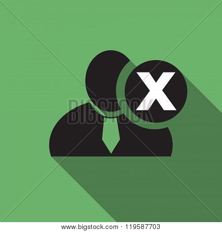 Delete Black Man Silhouette Icon On The Vintage Green Background, Long Shadow Flat Design Icon For F