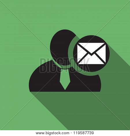 Envelope Or Email Black Man Silhouette Icon On The Vintage Green Background, Long Shadow Flat Design