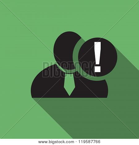 Exclamation Black Man Silhouette Icon On The Vintage Green Background, Long Shadow Flat Design Icon