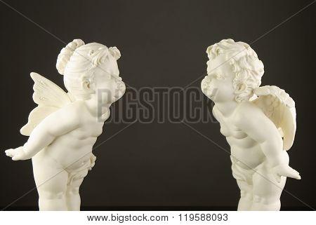 plaster figure angel with plaster figure fairy ...in love