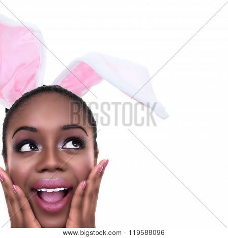African American black woman dressed in Spring Easter bunny ears or Halloween rabbit costume