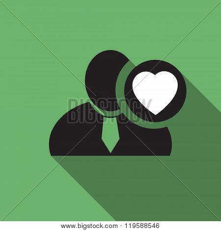 Heart Black Man Silhouette Icon On The Vintage Green Background, Long Shadow Flat Design Icon For Fo