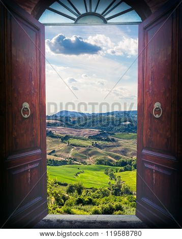 Open Door And Landscape