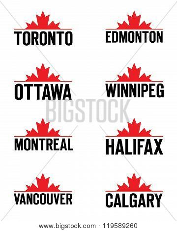 Vector Canadian City Icon and Symbol Set