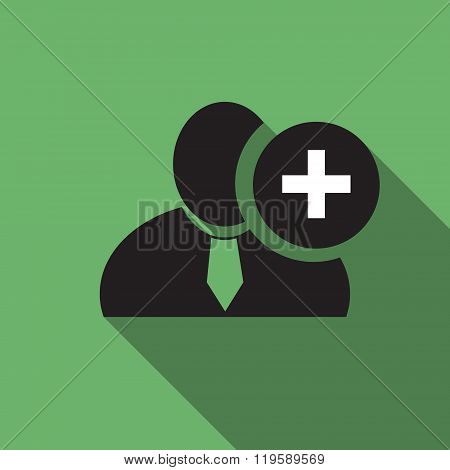 Plus Sign Black Man Silhouette Icon On The Green Vintage Background, Long Shadow Flat Design Icon Fo