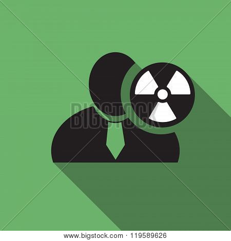 Radioactivity Black Man Silhouette Icon On The Green Vintage Background, Long Shadow Flat Design Ico