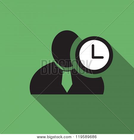 Clock Black Man Silhouette Icon On The Green Vintage Background, Long Shadow Flat Design Icon For Fo