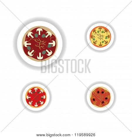 Stickers assembly pizza with mushrooms and olives