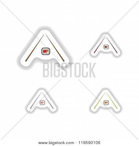 assembly paper stickers sushi rolls and chopsticks