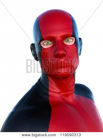 superhero in a red suit and cut-outs for the eyes.