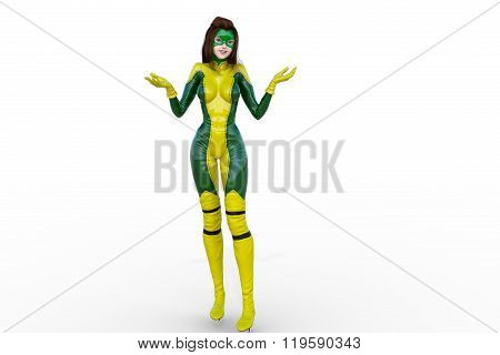 one young girl in a yellow-green latex in full height
