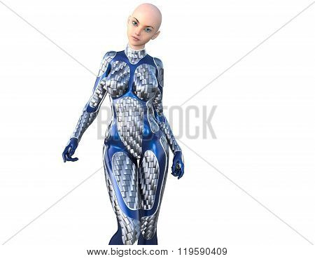 one bald young slender girl in a futuristic costume