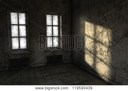 A small room in poor condition with two windows