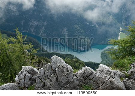Foggy view on the Koenigssee from Jenner, Germany