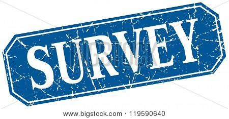survey blue square vintage grunge isolated sign