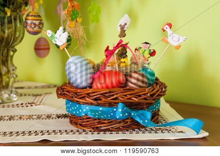 Easter Eggs And Basket Decoration On The Tabletop