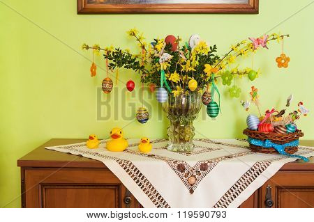 Yellow Forsythia Flowers And Easter Decoration