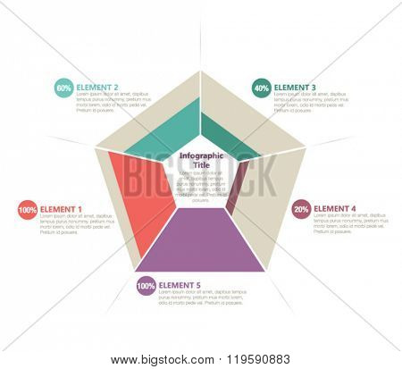 Five sided infographic element