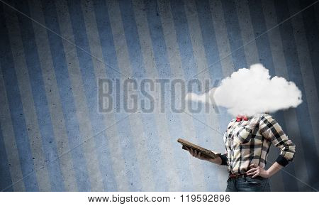 Girl with head in cloud